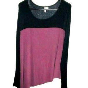 Cato Top Asymmetric XL Black Pink Mauve Boho